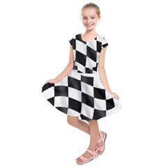Flag Chess Corse Race Auto Road Kids  Short Sleeve Dress