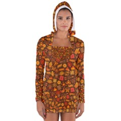 Pattern Background Ethnic Tribal Women s Long Sleeve Hooded T Shirt