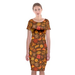 Pattern Background Ethnic Tribal Classic Short Sleeve Midi Dress