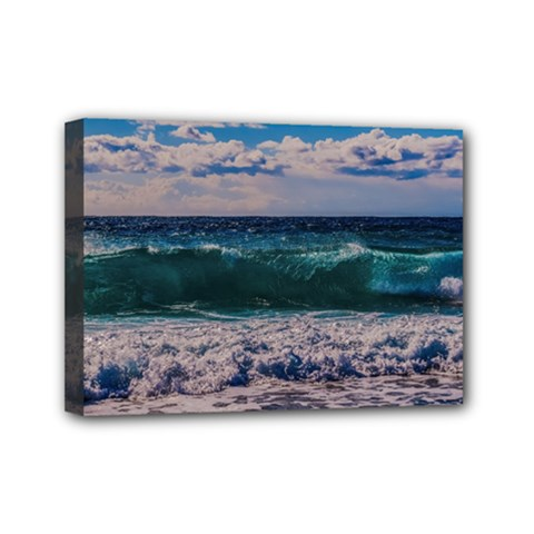 Wave Foam Spray Sea Water Nature Mini Canvas 7  X 5