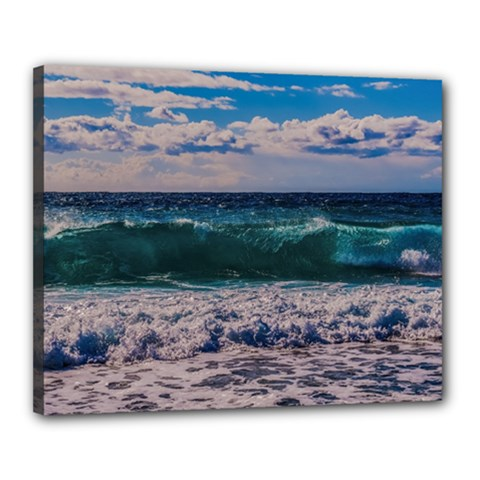 Wave Foam Spray Sea Water Nature Canvas 20  X 16