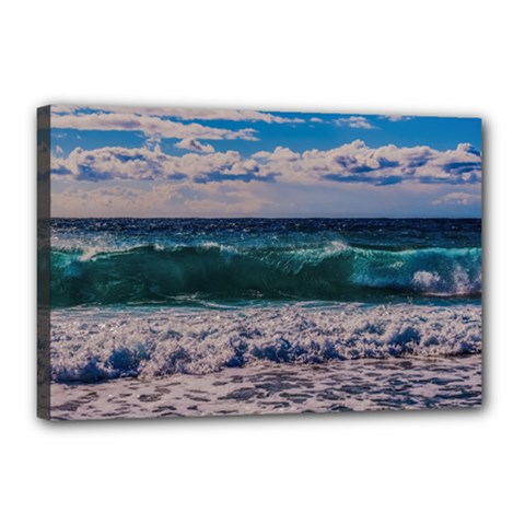 Wave Foam Spray Sea Water Nature Canvas 18  X 12