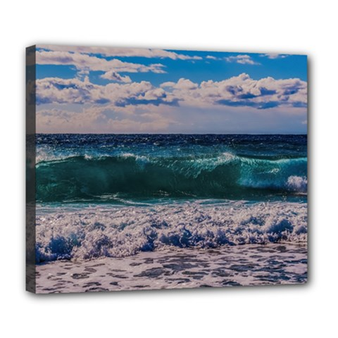 Wave Foam Spray Sea Water Nature Deluxe Canvas 24  X 20
