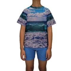 Wave Foam Spray Sea Water Nature Kids  Short Sleeve Swimwear
