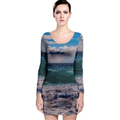 Wave Foam Spray Sea Water Nature Long Sleeve Bodycon Dress