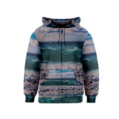 Wave Foam Spray Sea Water Nature Kids  Zipper Hoodie
