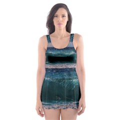 Wave Foam Spray Sea Water Nature Skater Dress Swimsuit