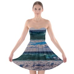 Wave Foam Spray Sea Water Nature Strapless Bra Top Dress
