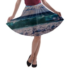 Wave Foam Spray Sea Water Nature A Line Skater Skirt