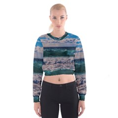 Wave Foam Spray Sea Water Nature Women s Cropped Sweatshirt