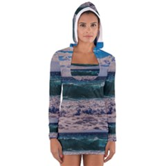 Wave Foam Spray Sea Water Nature Women s Long Sleeve Hooded T-shirt