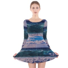 Wave Foam Spray Sea Water Nature Long Sleeve Velvet Skater Dress