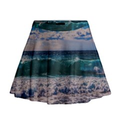 Wave Foam Spray Sea Water Nature Mini Flare Skirt