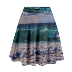 Wave Foam Spray Sea Water Nature High Waist Skirt