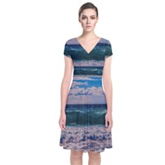 Wave Foam Spray Sea Water Nature Short Sleeve Front Wrap Dress