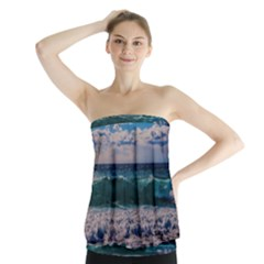 Wave Foam Spray Sea Water Nature Strapless Top