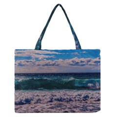 Wave Foam Spray Sea Water Nature Medium Zipper Tote Bag