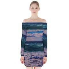Wave Foam Spray Sea Water Nature Long Sleeve Off Shoulder Dress