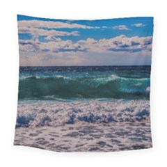 Wave Foam Spray Sea Water Nature Square Tapestry (large)