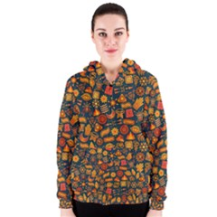 Pattern Background Ethnic Tribal Women s Zipper Hoodie