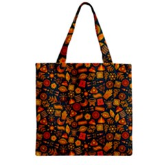 Pattern Background Ethnic Tribal Zipper Grocery Tote Bag