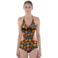 Pattern Background Ethnic Tribal Cut-Out One Piece Swimsuit