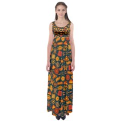 Pattern Background Ethnic Tribal Empire Waist Maxi Dress