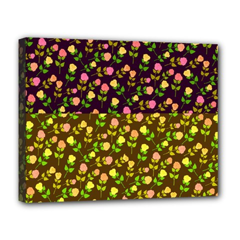 Flowers Roses Floral Flowery Canvas 14  X 11