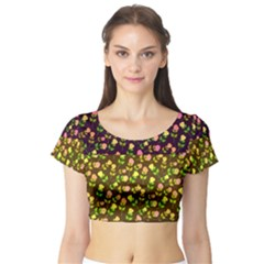 Flowers Roses Floral Flowery Short Sleeve Crop Top (tight Fit)