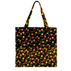 Flowers Roses Floral Flowery Zipper Grocery Tote Bag