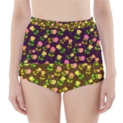 Flowers Roses Floral Flowery High Waisted Bikini Bottoms