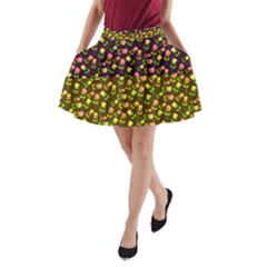 Flowers Roses Floral Flowery A Line Pocket Skirt