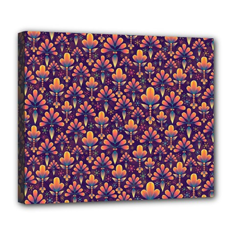 Abstract Background Floral Pattern Deluxe Canvas 24  X 20