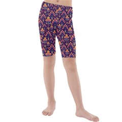 Abstract Background Floral Pattern Kids  Mid Length Swim Shorts