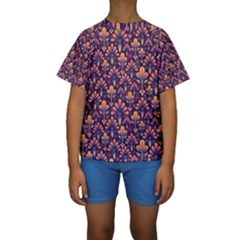 Abstract Background Floral Pattern Kids  Short Sleeve Swimwear