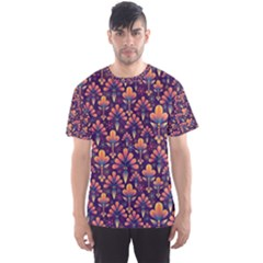 Abstract Background Floral Pattern Men s Sport Mesh Tee