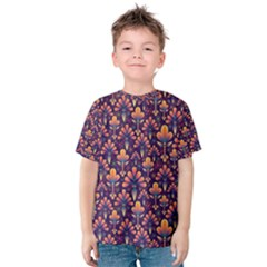 Abstract Background Floral Pattern Kids  Cotton Tee