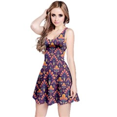Abstract Background Floral Pattern Reversible Sleeveless Dress