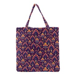Abstract Background Floral Pattern Grocery Tote Bag