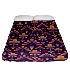 Abstract Background Floral Pattern Fitted Sheet (king Size)