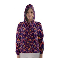 Abstract Background Floral Pattern Hooded Wind Breaker (women)