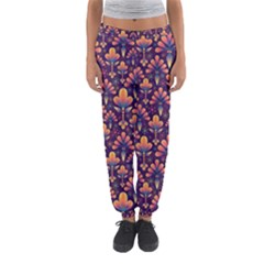 Abstract Background Floral Pattern Women s Jogger Sweatpants