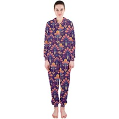 Abstract Background Floral Pattern Hooded Jumpsuit (ladies)