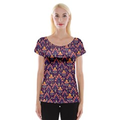 Abstract Background Floral Pattern Women s Cap Sleeve Top