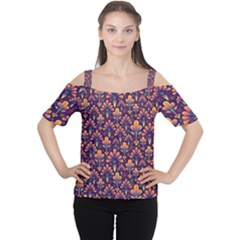 Abstract Background Floral Pattern Women s Cutout Shoulder Tee