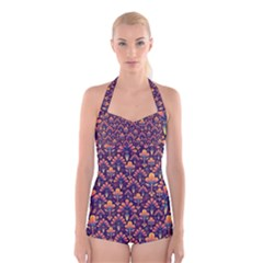Abstract Background Floral Pattern Boyleg Halter Swimsuit