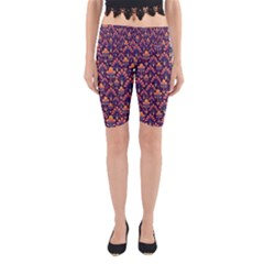Abstract Background Floral Pattern Yoga Cropped Leggings