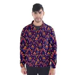 Abstract Background Floral Pattern Wind Breaker (men)