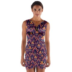 Abstract Background Floral Pattern Wrap Front Bodycon Dress