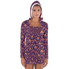 Abstract Background Floral Pattern Women s Long Sleeve Hooded T Shirt